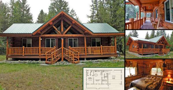 Log home kit ranch style