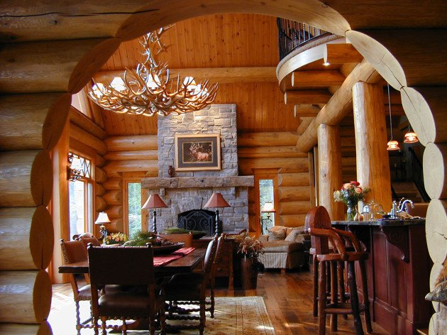 Amazing waterfront log home interior