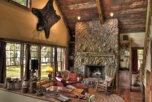 Creative log cabin fireplace