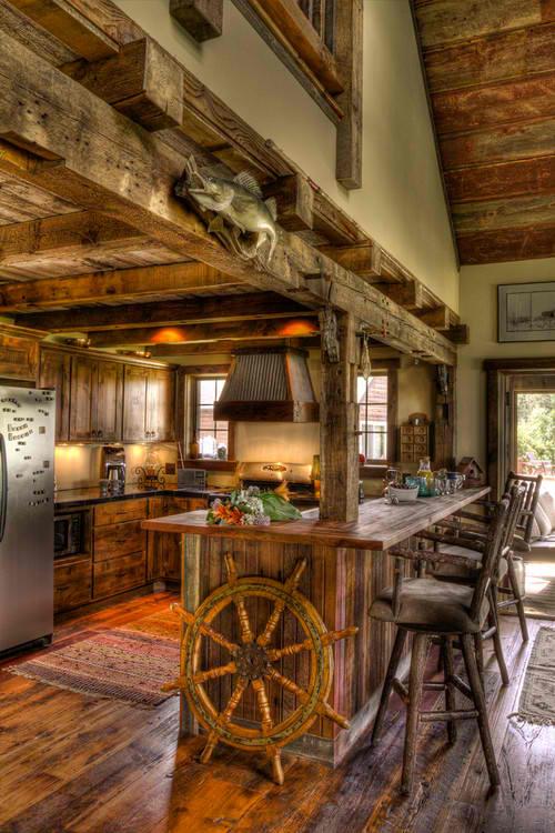 Creative log cabin kitchen
