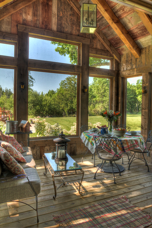 Creative log cabin design with stunning interior page 2 for Log cabin sunrooms