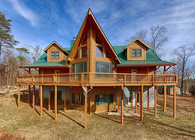 Custom crafted log cabin back