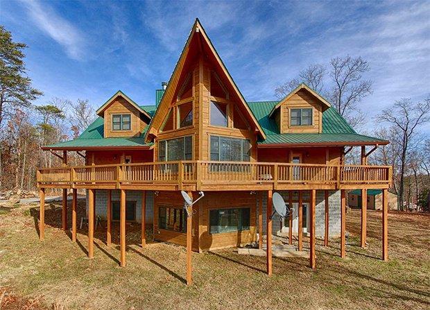 Custom crafted log cabin back