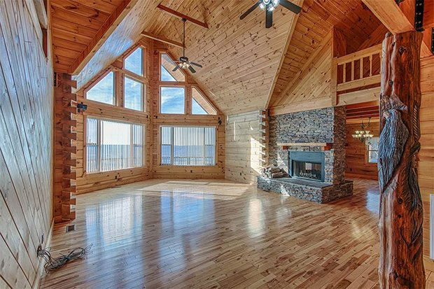 Custom crafted log cabin inside