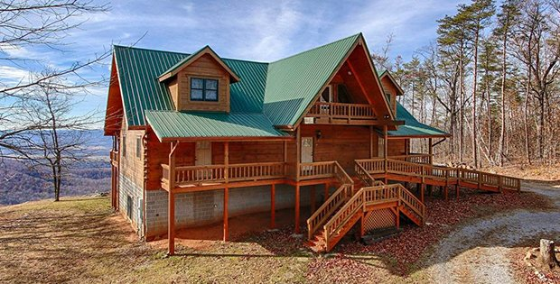Custom Crafted Log Cabin On Top Of The Mountain Log