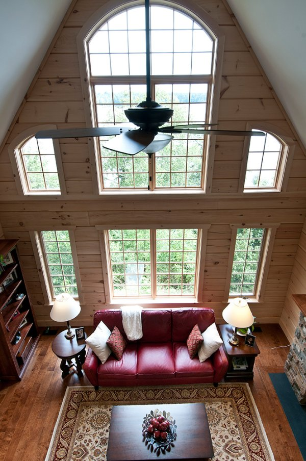 Log home design living room