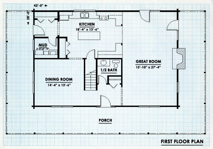 ... Wraparound Porch Log Cabin Floor Plan First Level