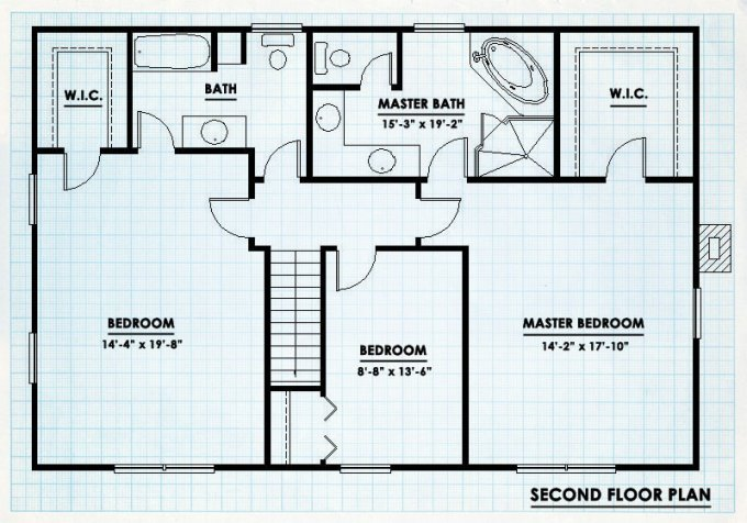 Wraparound porch log cabin floor plan second level