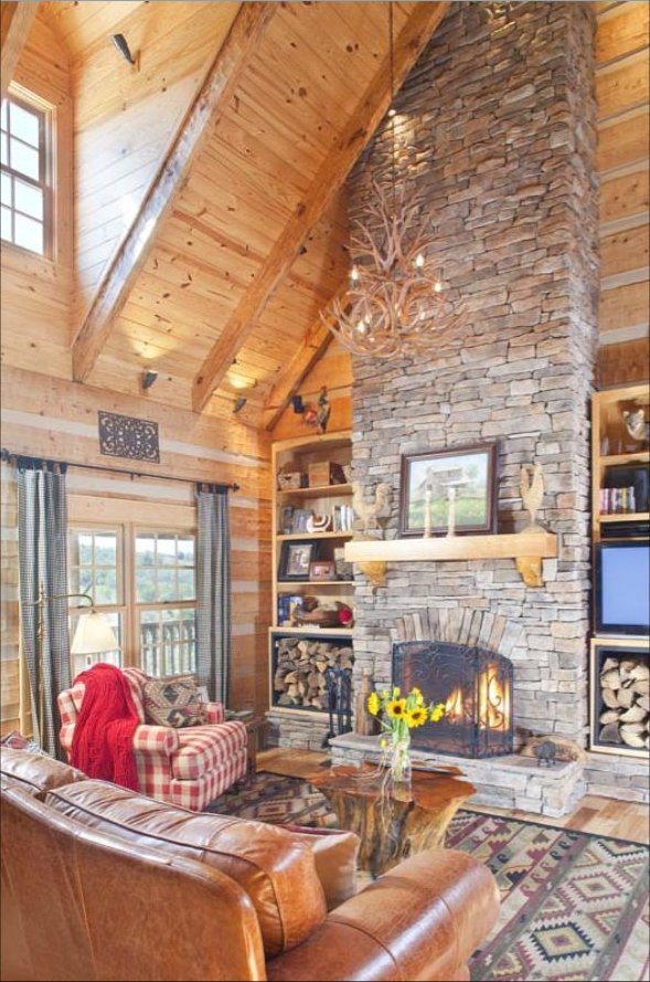 Custom built log home inside