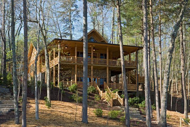 Lake house log home backview
