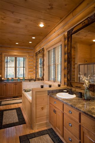 Lake house log home bathroom