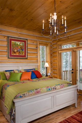 Lake house log home bedroom