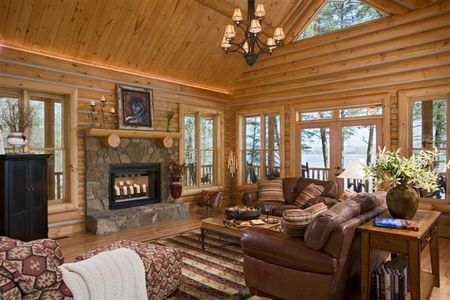 Lake house log home interior