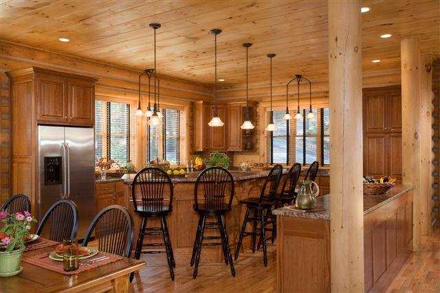 Lake house log home kitchen