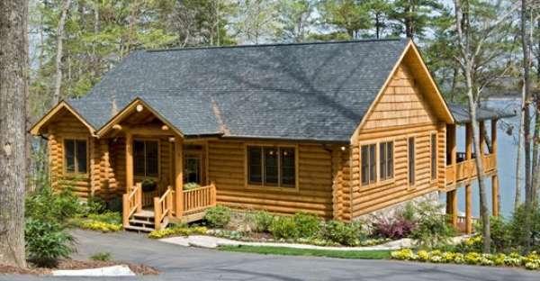 Lake house log home