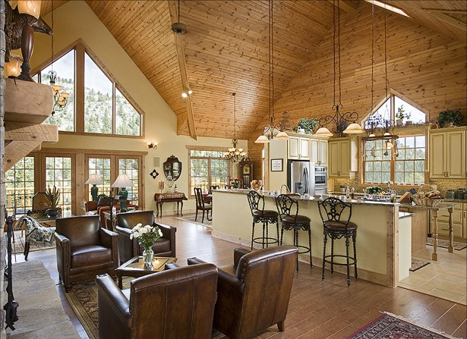 Log home in Montana, interior