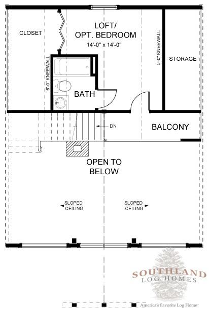 Log home with wraparound porch plan