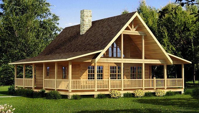 Log home with wraparound porch