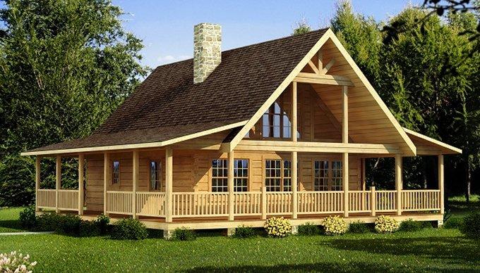 Log home with wraparound porch log homes lifestyle for Full wrap around porch log homes