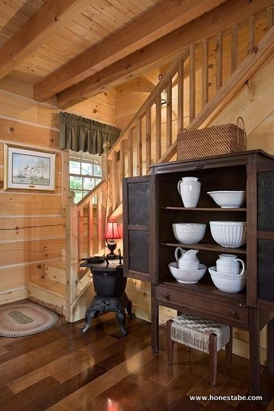 Log cabin family home interior