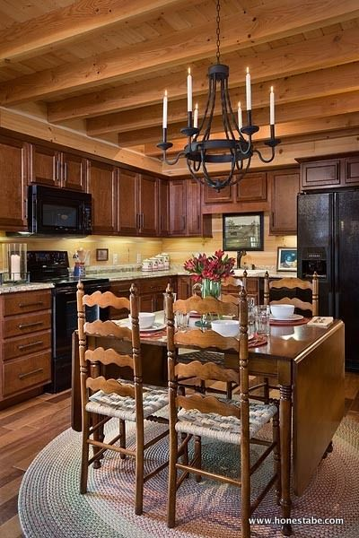 Log cabin family home kitchen