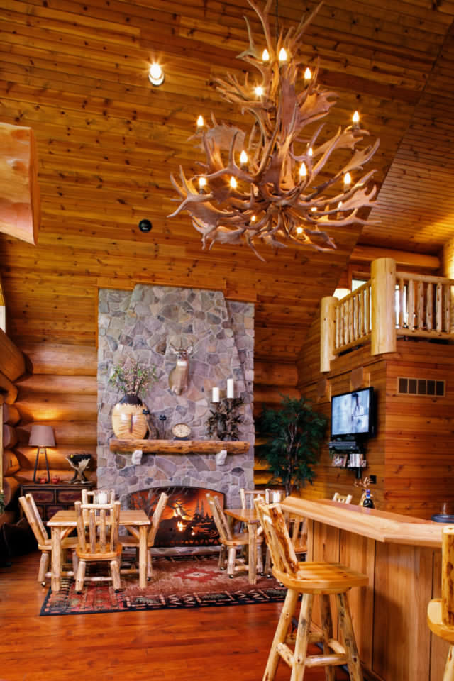 Beautiful log home fireplace