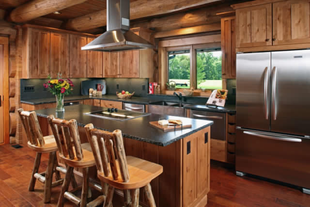Beautiful log home kitchen