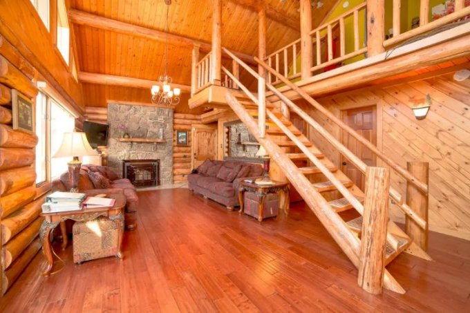 Modern log home interior
