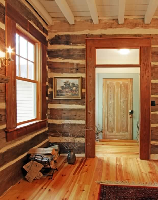 Old log home interior