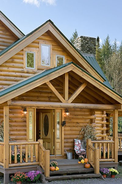 Log home kit entrance