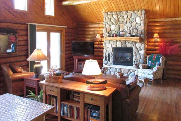 Natural log home interior