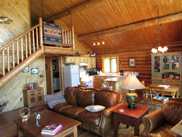 Natural log home interior