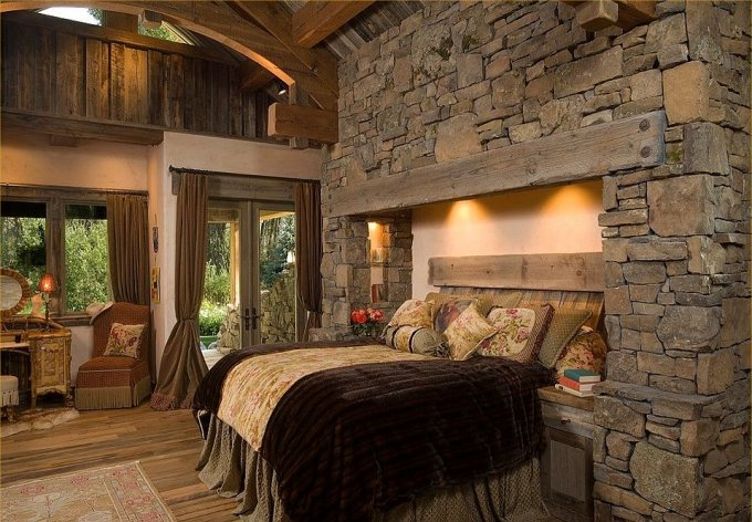 Beautiful log home bedroom