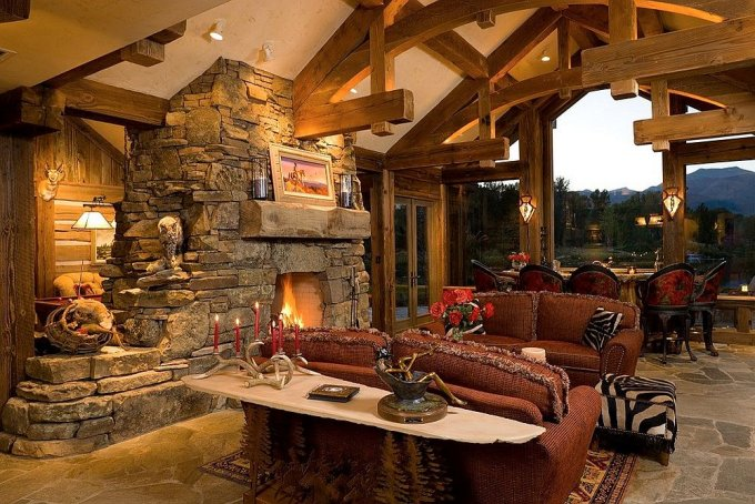 Beautiful log home interior
