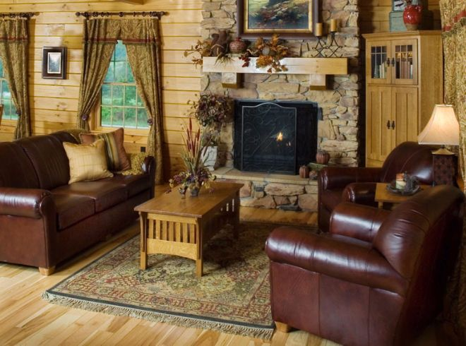 Classic log home interior