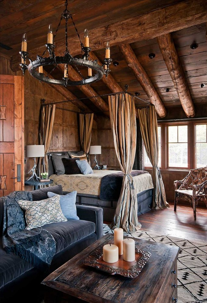 Log home bedroom with canopy bed