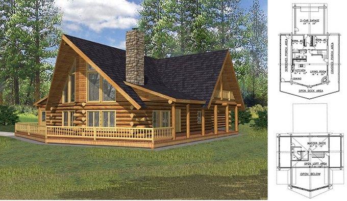 Rustic log home plan