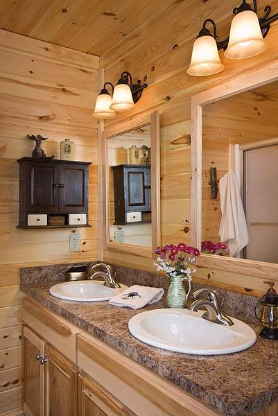 Country style log home bathroom