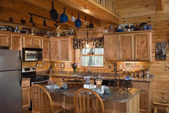 Country style log home kitchen
