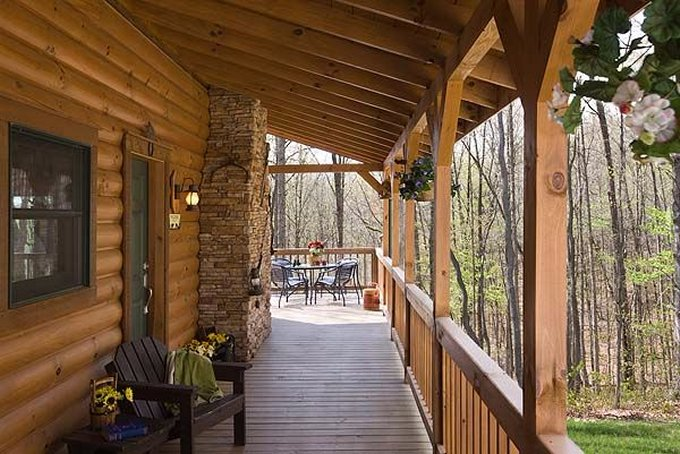 Country style log home porch