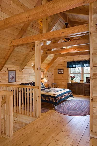 Country style log home bedroom