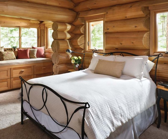 Mountain log home bedroom