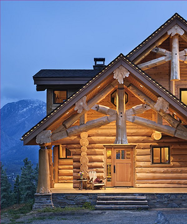 Mountain log home entrance