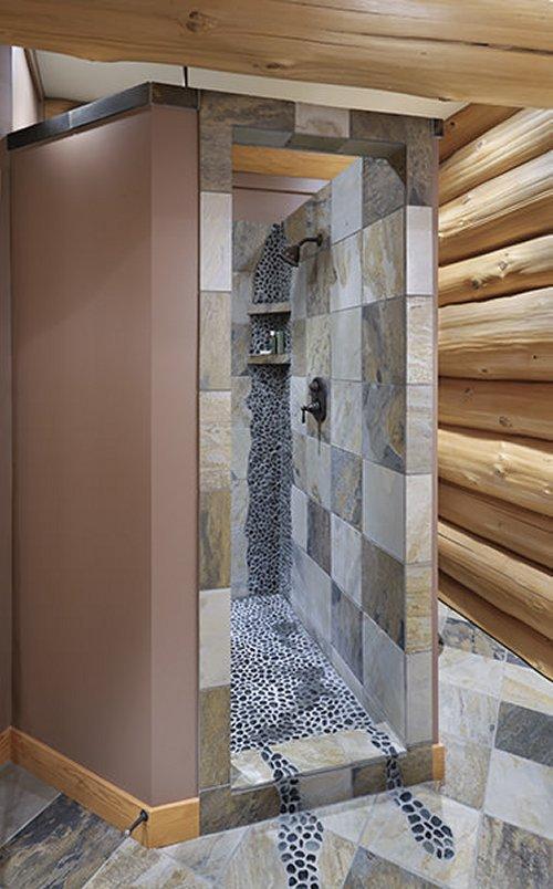 Mountain log home shower