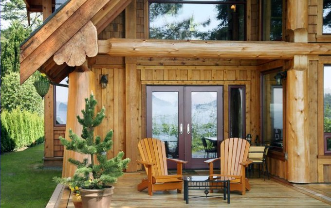 Log house deck