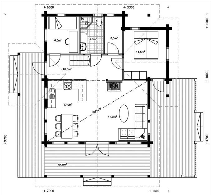 Log house floor plan