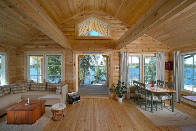 Log house interior