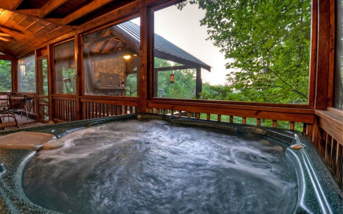 Mountain retreat hot tub