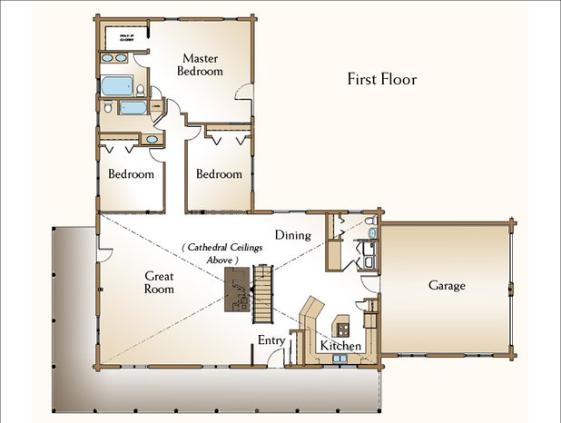 One story log house floor plan