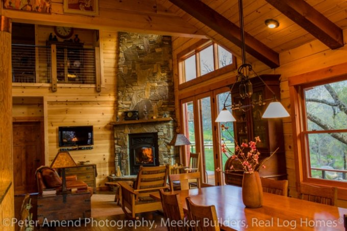 One story log house interior
